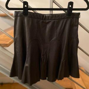 10 Crosby Derek Lam black leather mini tulip skirt